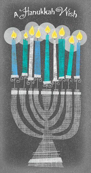 Menorah Hanukkah Money Holder Card