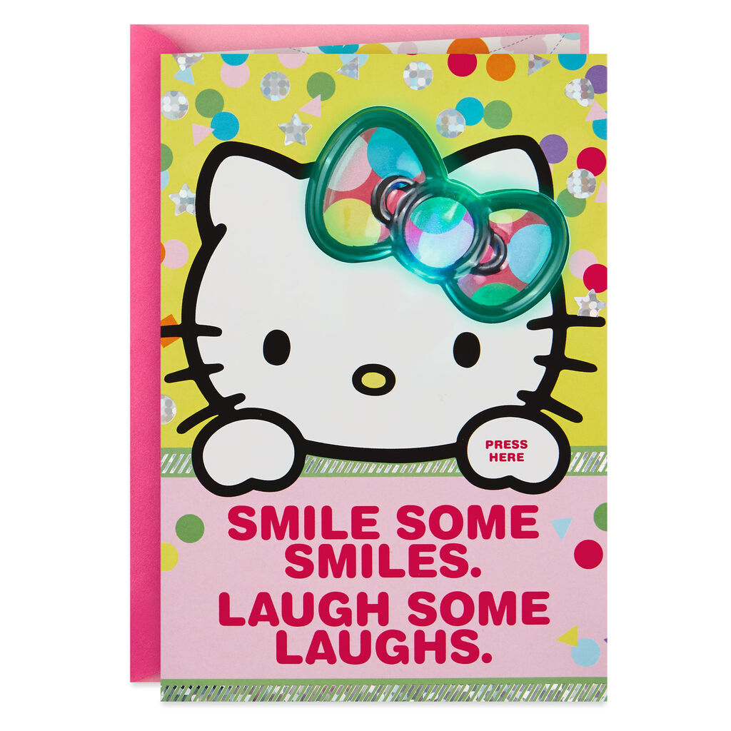 Hello KittyR Big Wishes Musical Birthday Card With Light