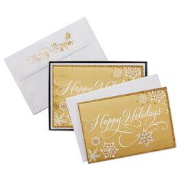 Golden Snowflakes Christmas Cards, Box of 12, , large