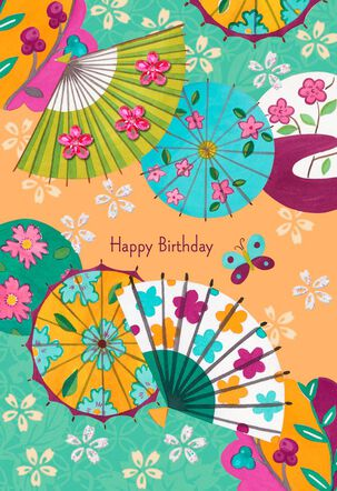 Fans and Parasols Birthday Card
