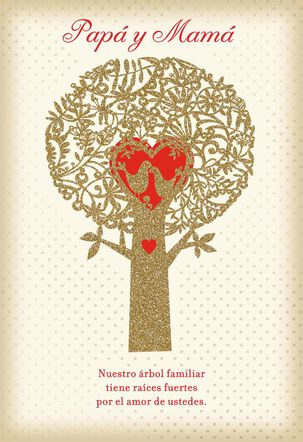 Family Tree Spanish-Language Valentine's Day Card for Parents