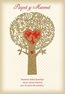 Family Tree Spanish-Language Valentine's Day Card for Parents,