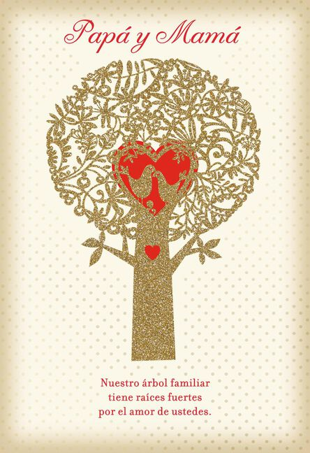 Family Tree Spanish Language Valentine S Day Card For Parents