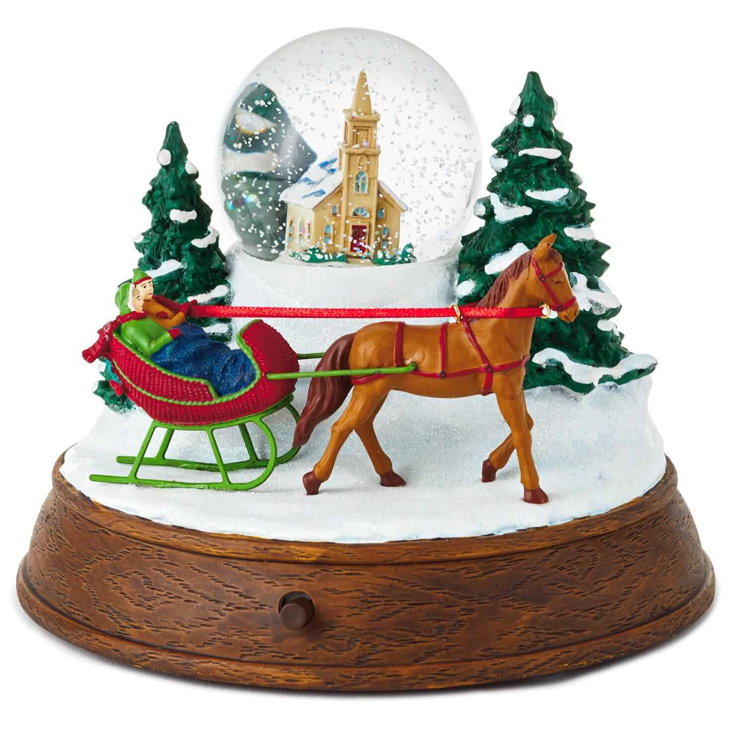 Christmas In Evergreen Hallmark.Christmas In Evergreen Sleigh Ride Musical Snow Globe With Light