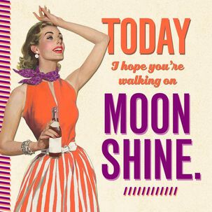 Retro Walking on Moonshine Birthday Card