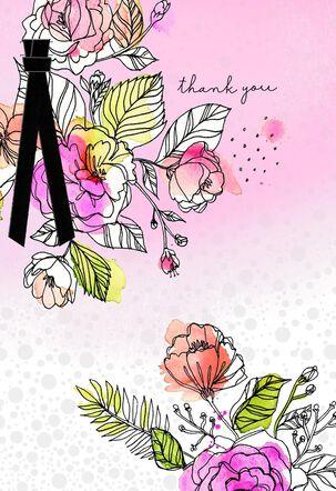 Fancy Flowers Blank Thank You Card