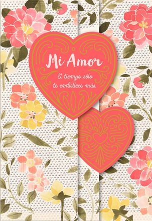Time Makes You More Beautiful Spanish-Language Wife Birthday Card