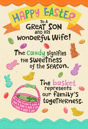 Candy and Nuts Pop-Up Easter Card Son and Wife