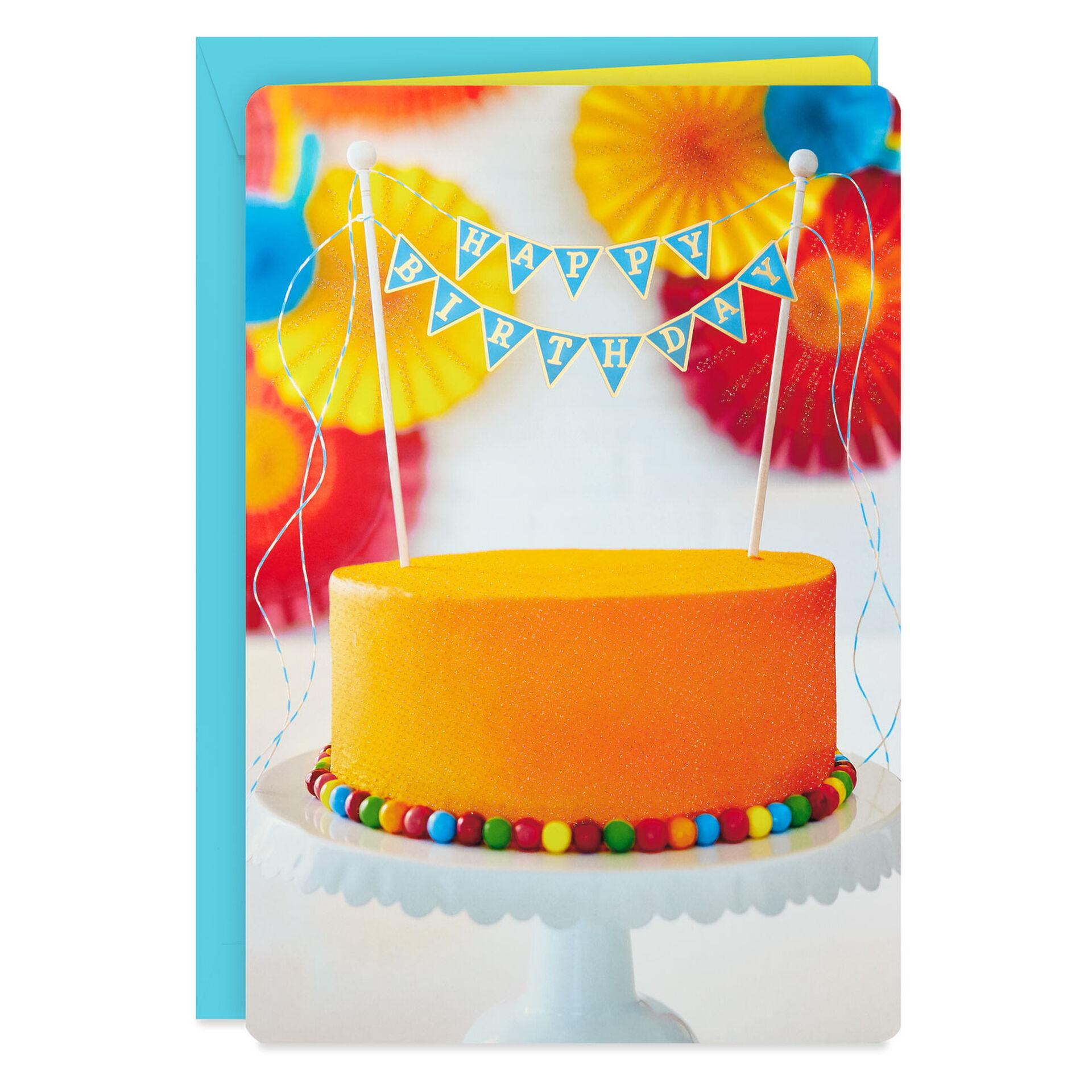 "Happy Birthday Cake Jumbo Birthday Card, 8.8"""