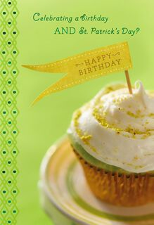 Cupcake St. Patrick's Day Birthday Card,
