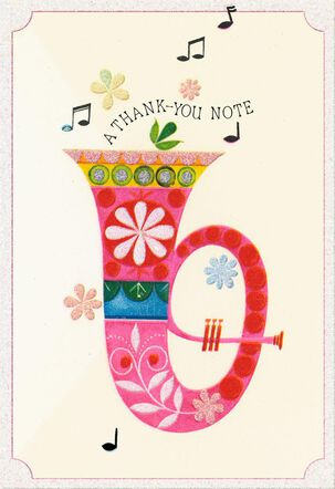 Floral Patterned Tuba and Musical Notes Thank You Card