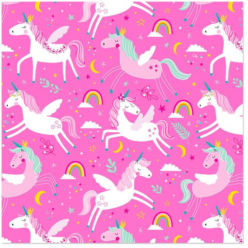 add50dbd0d Frolicking Unicorns on Pink Wrapping Paper Roll, 27 sq. ft., ...