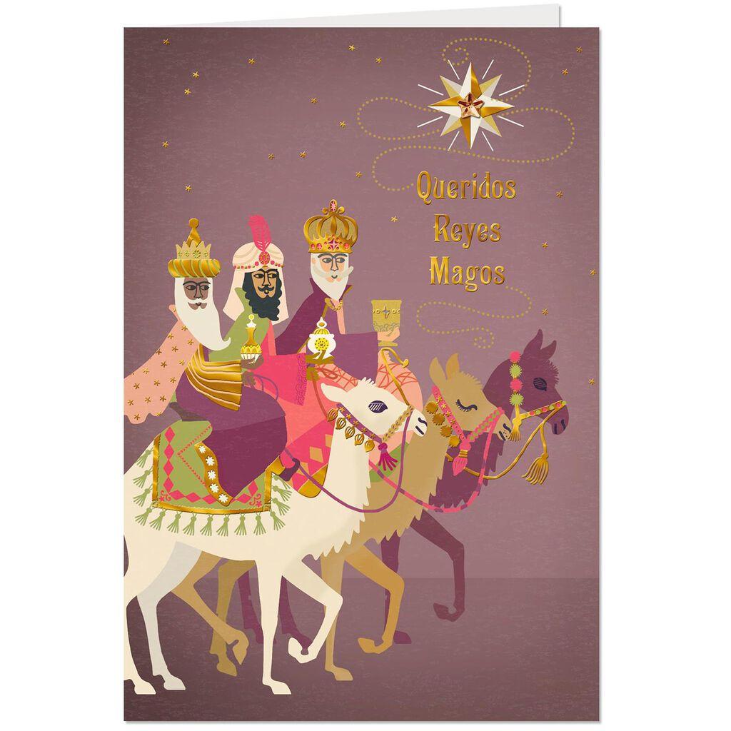Three Wise Men On Camels Spanish Language Epiphany Card Greeting