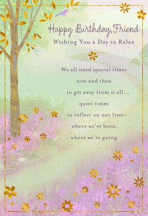 Day to Relax Tree Birthday Card for Friend