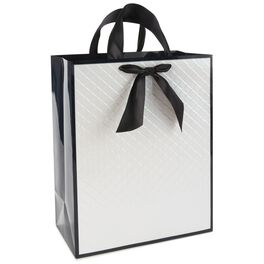 "Black and White Quilted Large Gift Bag, 13"", , large"