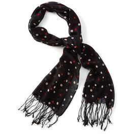 Black Scarf With Hearts and Dots, , large