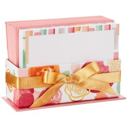 Abstract Pink Floral Caddy With Blank Note Cards, Pack of 50, , large