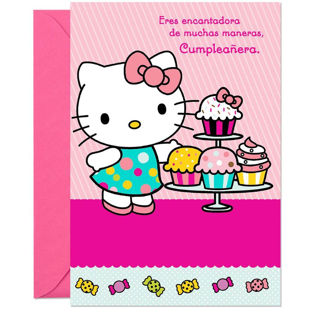 Hello KittyR Charming Girl Spanish Language Birthday Card