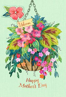 Hanging Flower Basket Mother's Day Card With Plant Stake,