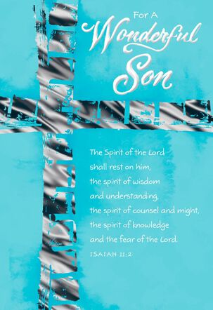 Foil Cross on Blue Background Confirmation Card for Son