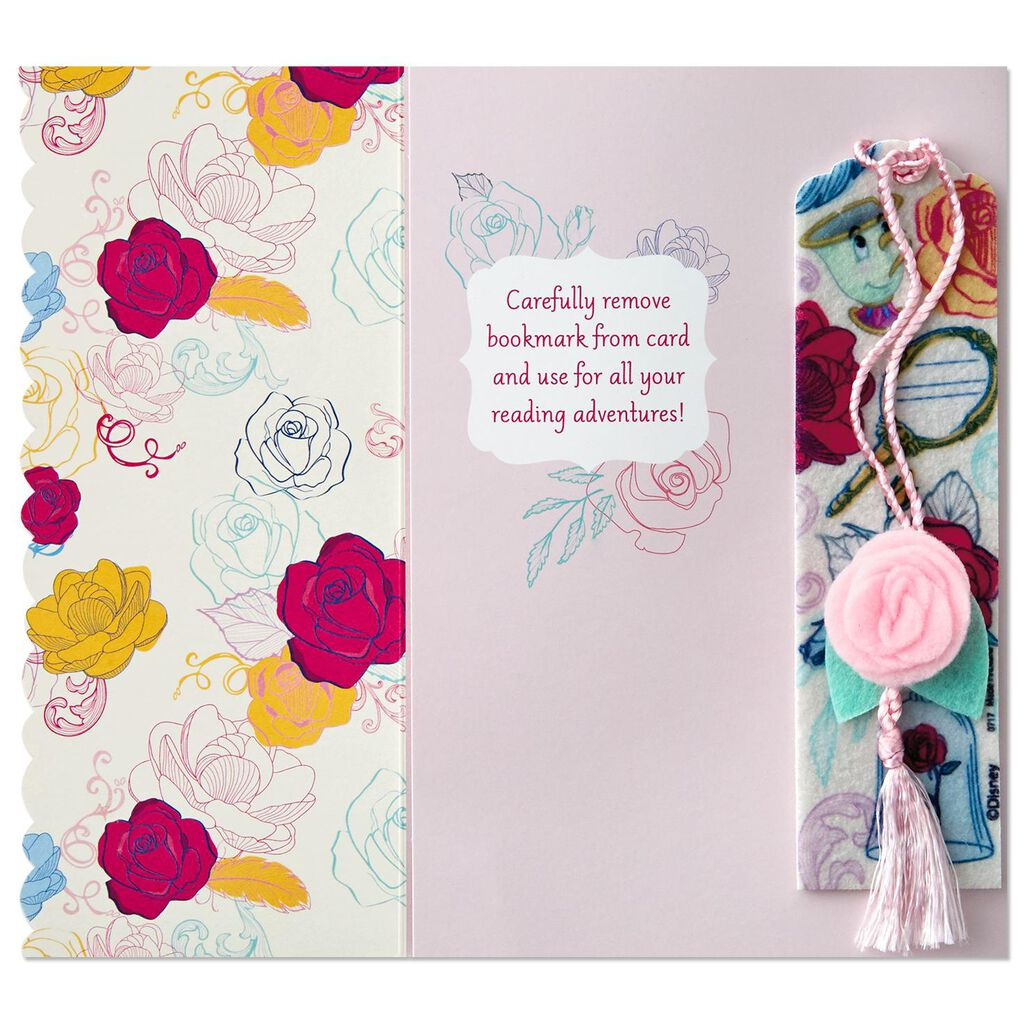 Beauty and the Beast Belle Birthday Card With Bookmark - Greeting ...