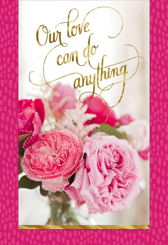 Pink Glitter Kissed Flowers Love Card Greeting Cards Hallmark