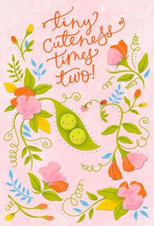 Peapod New Twins Baby Card,