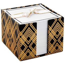 Classic Black and Gold Geometric Square Memo Caddy, , large
