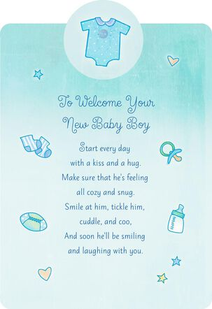Welcome With a Kiss and Hug New Baby Boy Card