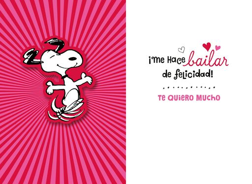 Peanuts® Snoopy Happy Dance Spanish Valentine's Day Card,