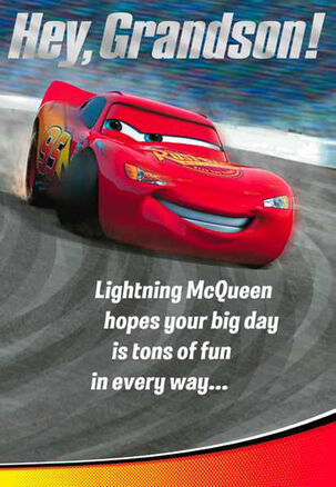 Cars Lightning McQueen and Mater Grandson Birthday Card