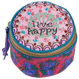 "Natural Life ""Live Happy"" Round Jewelry Case, , large"
