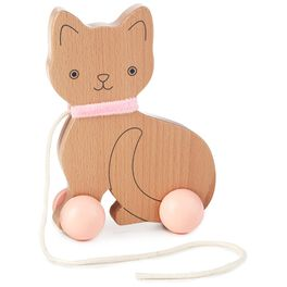 Wooden Cat Pull Toy, , large