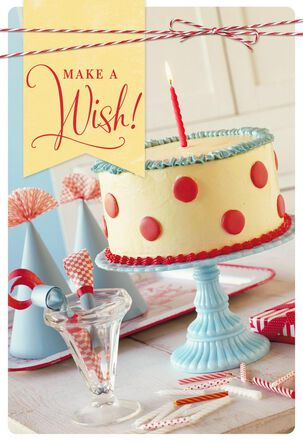 Make a Wish Cake and Candle Birthday Card