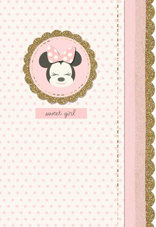 Minnie Mouse Gold and Pink New Baby Girl Card
