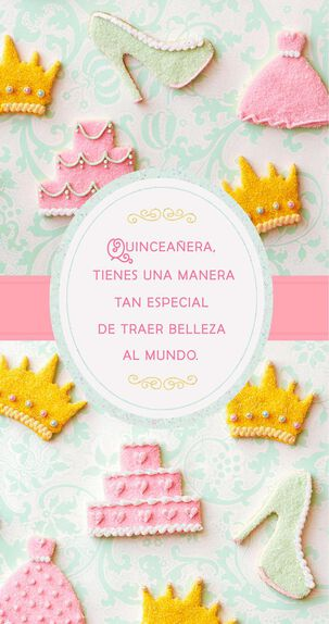 Gowns and Crowns Spanish-Language Money Holder Quinceañera Card