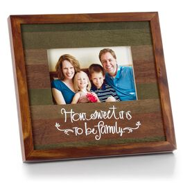 Weathered Stained Wood Picture Frame with Family Sentiment, 4x6, , large