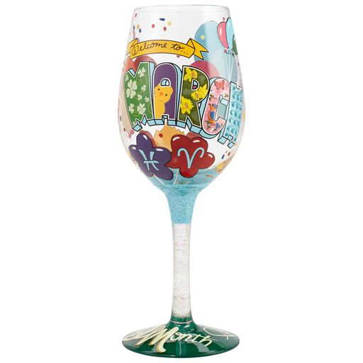 LolitaR March Birthday Balloons Hand Painted Wine Glass 15 Oz