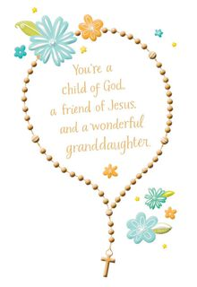 Rosary for Granddaughter First Communion Card,