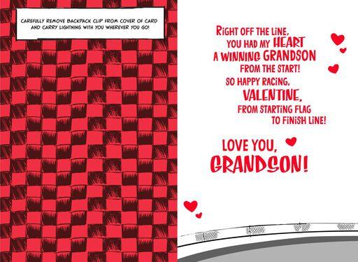 Disney/Pixar Cars Grandson Valentine's Day Card With Backpack Clip,