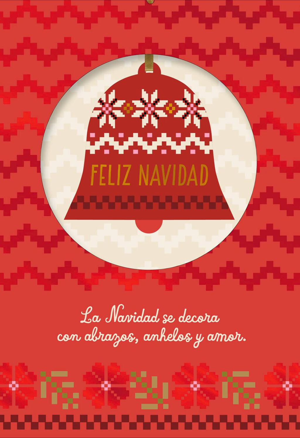 Peace And Joy Spanish Language Christmas Card With Ornament