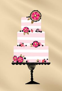 Pink and White Stripe Tiered Cake Blank Card,