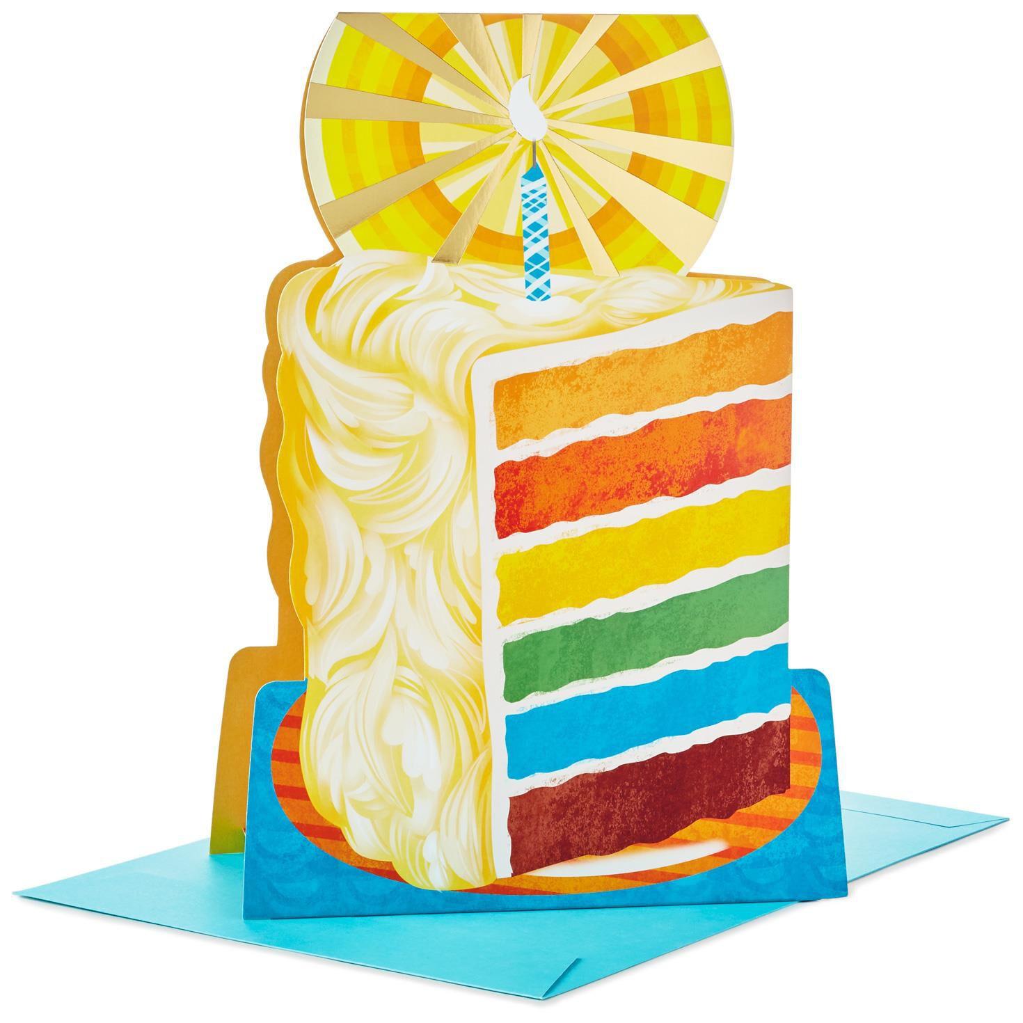 "Slice of Cake Stand Up Jumbo Birthday Card 16"" Greeting Cards"