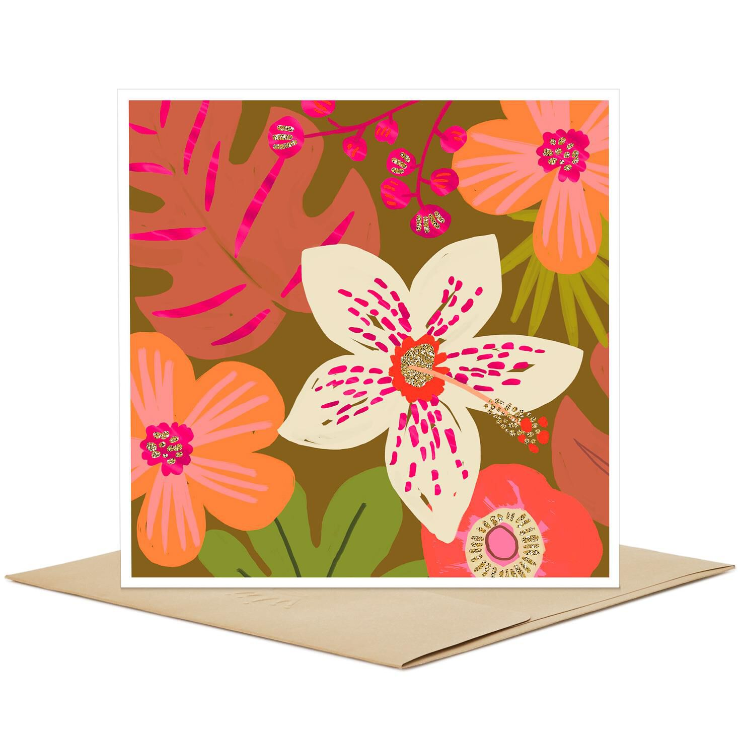 Tropical Pink Flowers Blank Card Greeting Cards Hallmark