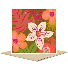Tropical Pink Flowers Blank Card, , large