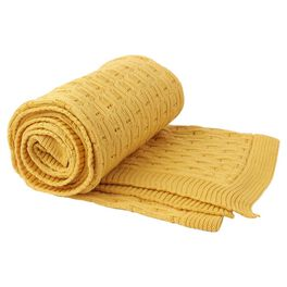 Gold Knit Throw Blanket, , large
