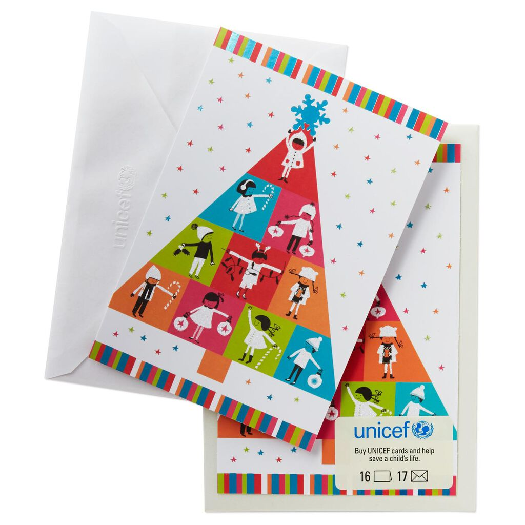 UNICEF Colorful Kids Tree Christmas Cards, Box of 16 - Boxed Cards ...