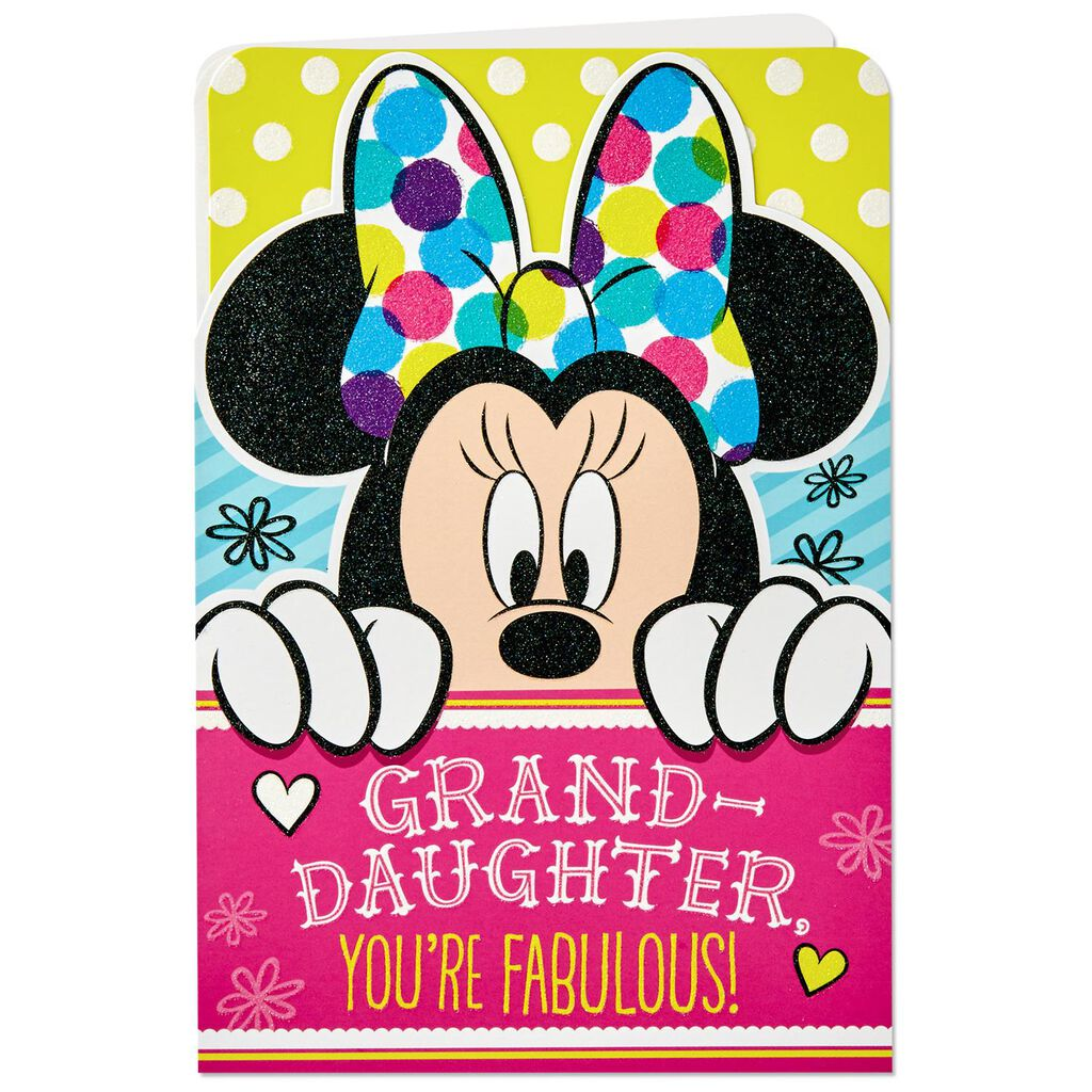 Disney Minnie Mouse Birthday Card For Granddaughter With Stickers And Bows