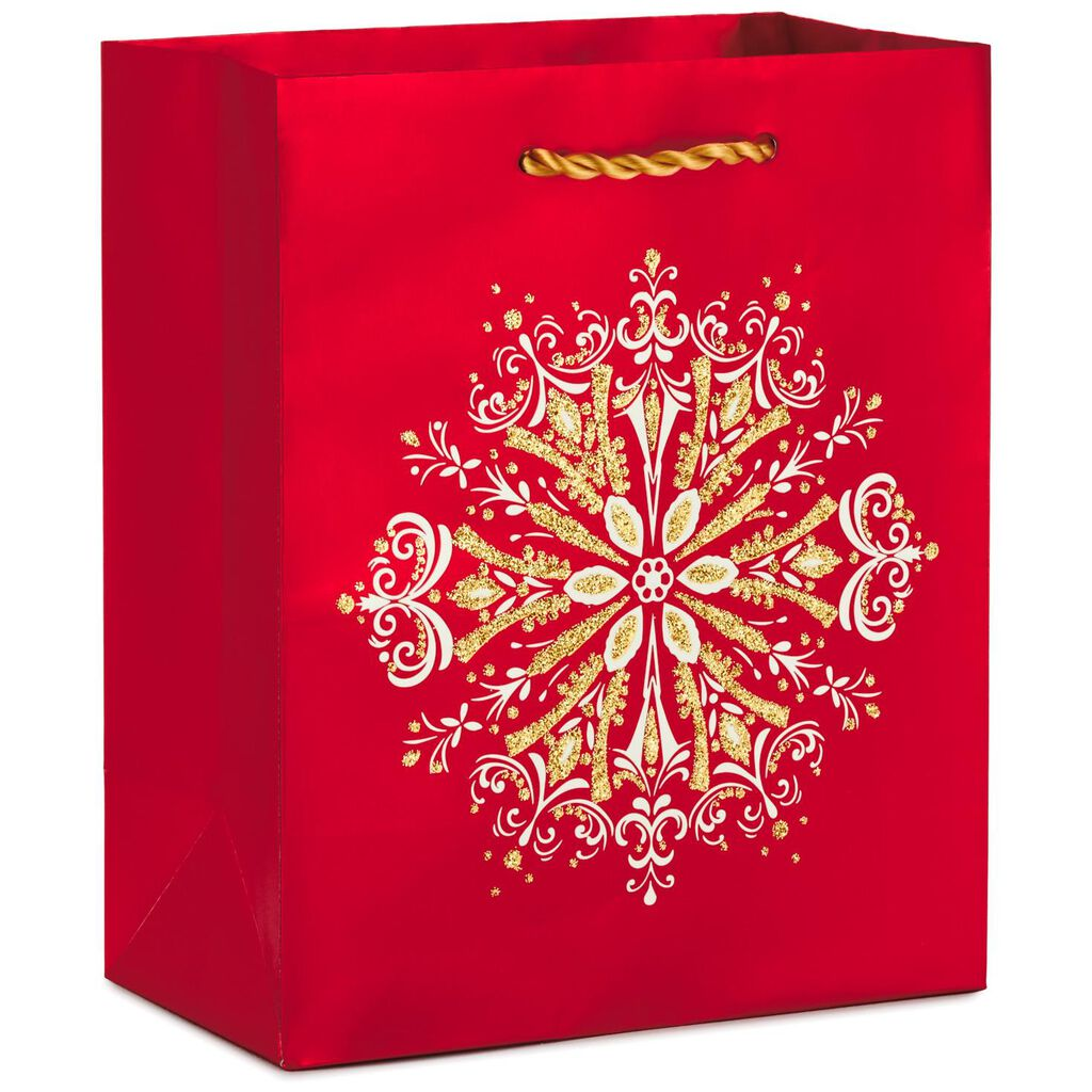 Ornate Snowflake on Red Small Christmas Gift Bag, 6.5\