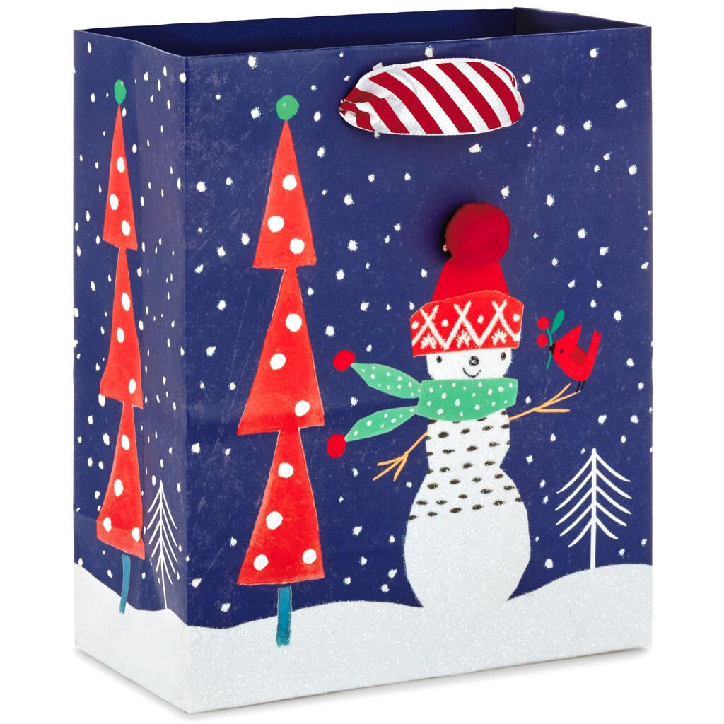 Snowman With Cardinal Small Christmas Gift Bag, 6.5\